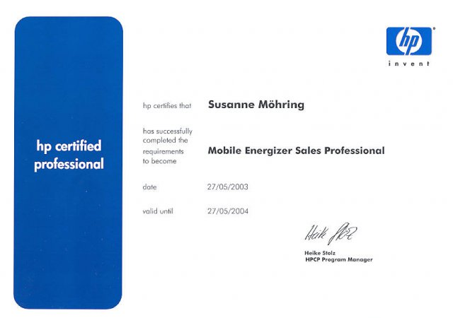 hp certified mobile professional 2003 2004  75